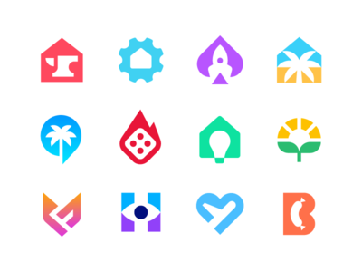 Negative Space Logos dice fire collection portfolio home house palm sun plant heart plane rocket casino geometric identity mark symbol branding logo negative space