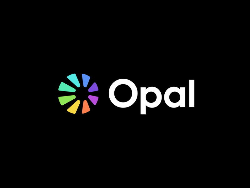 opal technology modern data lettermark perspective o opal gem sun shine abstract identity mark symbol branding logo