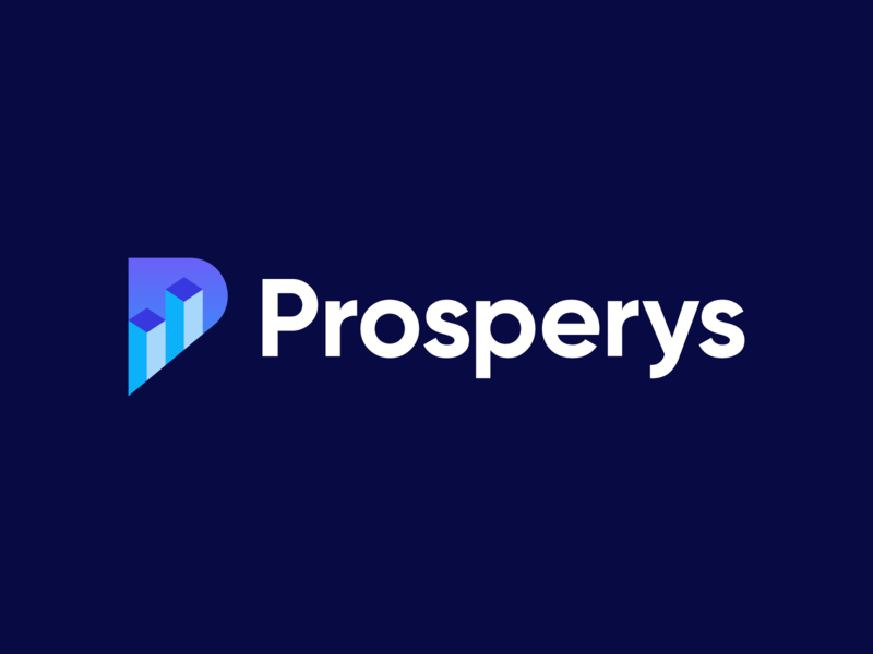 prosperys data modern geometric lettermark cube isometric logotype identity branding city branding logo city marketing graph performance building