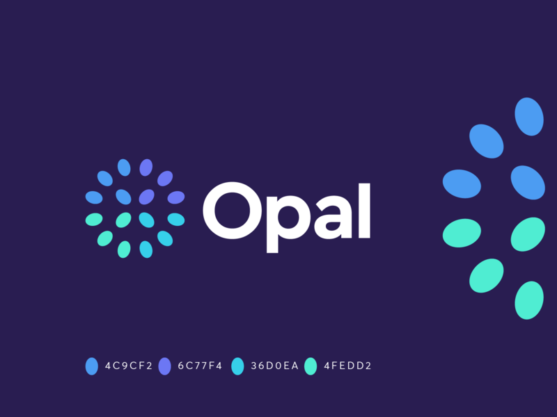 Opal flat logo teamwork team tech tech starup technology data geometric lettermark abstract mark symbol identity branding logo developent gem opal