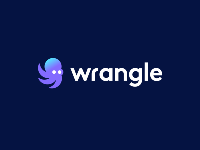 wrangle friendly animal cute animal moving movement task forward modern identity mark symbol process mascot animal branding logo gradient octopus