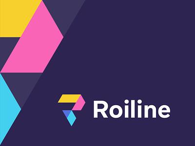 roiline origami money abstract return of investment capital sales roi finance investment data modern geometric lettermark identity mark symbol branding logo