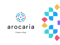 arocaria flowers blossoms bloom modern geometric abstract identity mark symbol branding logo floral blossom flower