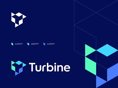 Turbine startup logo technical technology tech t finance fintech turbine digital data modern lettermark geometric abstract identity symbol branding logo logo cryptocurrency blockchain