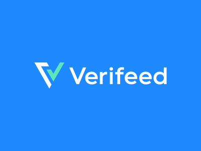 verifeed social media digital data iconic flat logo minimal logo social traffic approve graph growth feed identity v checkmark verify symbol branding logo