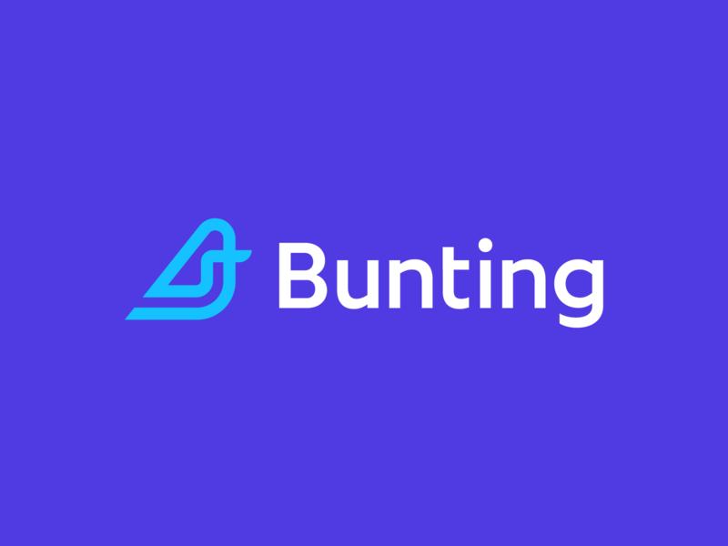 Bunting logo design dynamic path iconic monolone monolinear bird bunting ecommerce flat logo clean logo simple logo monoline geometric identity symbol branding logo