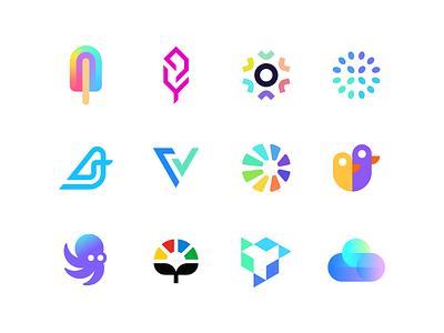 Logo collection flat logo data clean logo startup plant checkmark v u duck o abstract opal flat simple logo logo collection logofolio bird gradient branding logo