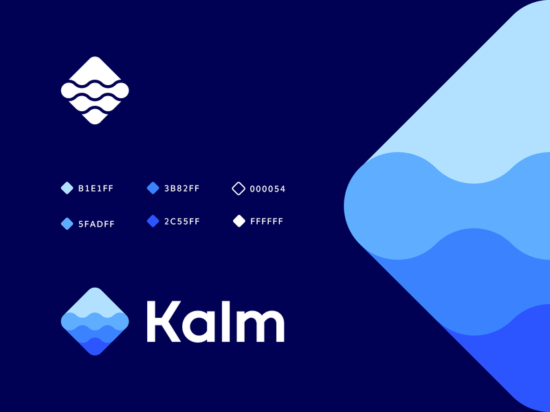 kalm gui geometric river iconic watercolor quiet calm sea water logo design branding