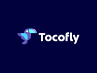 tocofly startup geometry colors travel fly geometric modern animal mascot bird toucan branding logo