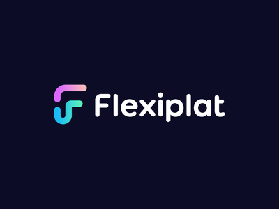 flexiplat unused logo modern startup finance money gradient fp f flexible flex symbol branding logo