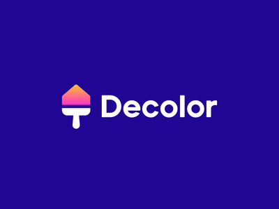 decolor home paintbrush paint decorate decor branding logo house
