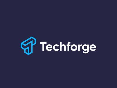 Techforge isometric linework software identity branding logo t logo tech logo technology tech