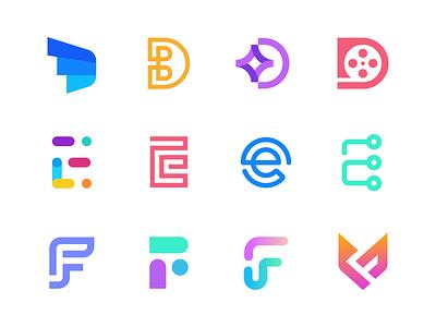 DEF flat logo gradient logo technology tech modern negative space logo f logo e logo d logo lettermark identity mark symbol branding logo