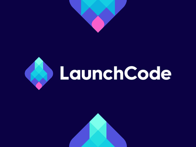 Launch Code spaceship polygon poly space branding and identity branding coding logo launch rocket coding code