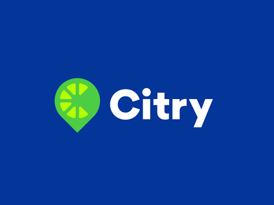 Citry branding logo design lemon fruit logo pointer no gradients flat fresh food vegetebles fruit startup map location city delivery pin c logo lime citrus