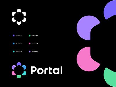 Portal ci guides portal startup digital flower network platfotm negativespace communication services online cube branding logo