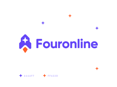 Fouronline rounded friendly take off growing spaceship star launch space identity branding logo rocket