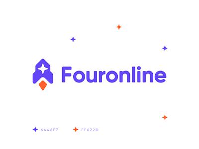 Fouronline r o c k e t r o c k e t rounded friendly take off growing spaceship star launch space identity branding logo rocket