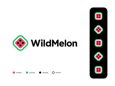 WildMelon chance sweet pattern startup bones club fruit water melon melon casino dice gambling mark identity symbol branding logo