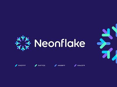 neonflake startup n n logo o logo o neon colors neon snowflake technology data abstract geometric identity symbol branding logo