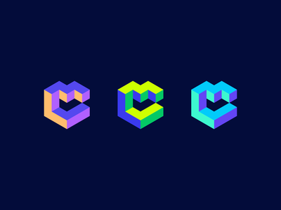 MC cm logo c c c c startup escher logo m c e escher m c c m geometric c logo m logo mc logo monogram impossible shape abstract 3d cube container logo