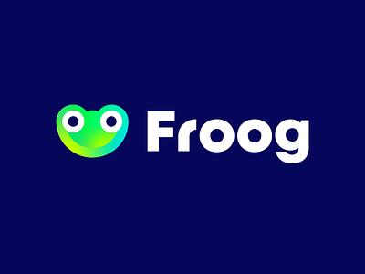 Froog startup logo f logo head branding and identity branding logo fun smile simple logo froog cute simple bullfrog toad colors gradient animal croaker leap frog