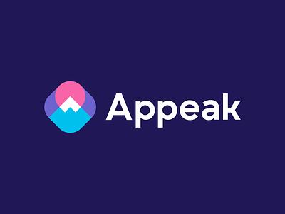 Appeak a fuji japan badge adventure brand software management tech sun landscape nature a logo mountain peak symbol branding logo