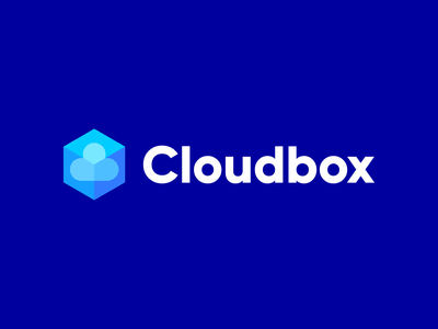 Cloudbox logo cube logo branding hosting service hosting hub server flat logo glassy glass cube box cloud