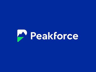 peakforce tech modern technology software pf f logo f branding logo mark logo negative space ridge height mountains hill peak p logo p mountain