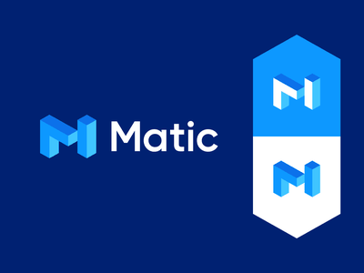 Matic bitcoin cryptocurrency technology tech polygon network ethereum protocol blockchain finance crypto currency matic isometric symbol branding logo crypto