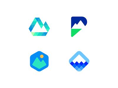 Peakforce technology tech negative space hexagon p logo geometric mark identity symbol branding logo software mountain peak