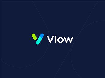 Vlow data technology tech network identity v logo branding connection logo chat