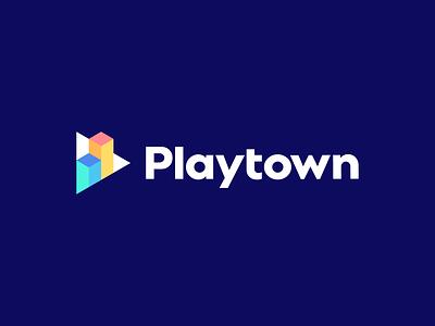 Playtown modern logo isometric identity branding logo geometric triangle play chart finance music game building graph
