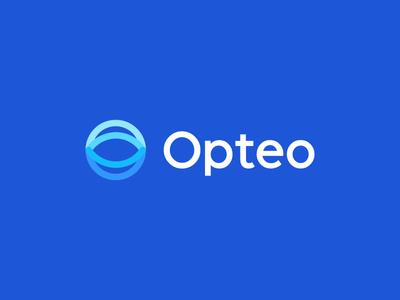 Opteo / logo design iconic blue glass brand circle connect ad simple tech saas deividas bielskis identity branding mark logo advertisement adword optic eye management