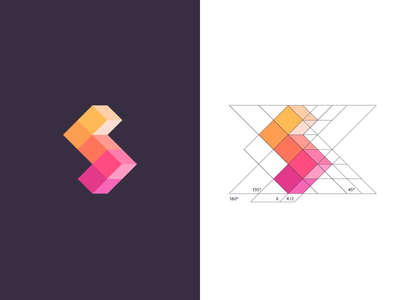 S / logo design cubes box abstract flat colors cubical cubic guide construct geometric cube geometry guides construction symbol mark logo s