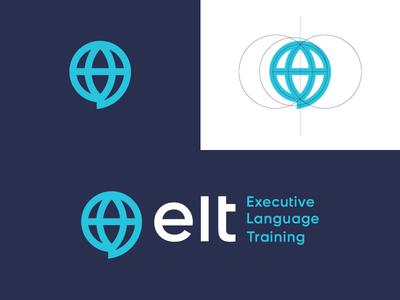 Elt / logo design employee school practice guidance exercise discipline coaching world training chat bubble chat speech translate branding logo business language conversation talk globe