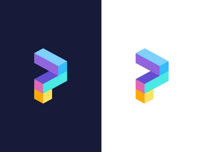 P / logo design block bright colorfull shape construction logo build construction p logo vector logo symbol mark logo abstract geometric cube p