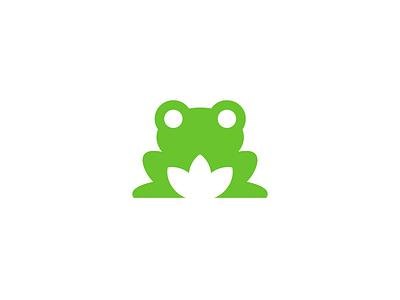 frog / logo design logo mark symbol mascot animal pond toad lily negative space frog