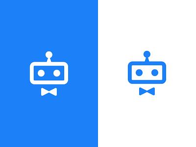robot / logo design help desk suppport mascot symbol mark help helper bow tie servant robot