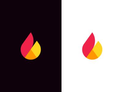 Flame / chart pie / b / logo design