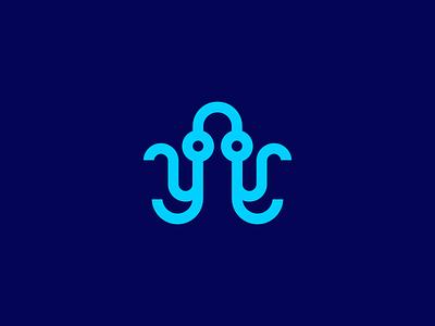 octopus / microchip / data / logo design branding identity logo octopus electronic microchip chip data technology