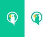 Talkivy / parrot / chat bubble / logo design