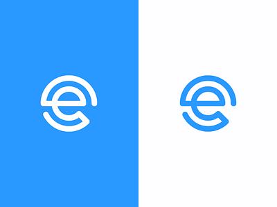 e / logo design e logo e commerce e letter minimal lettermark monoline single line coin abstract symbol mark logo path e