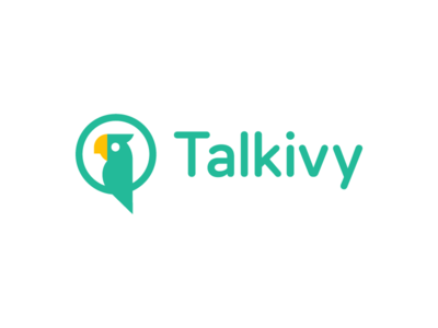 talkivy / parrot / chat bubble / logo design style verbal communication vocabulary speech dialect accent language learning smart branding icon logo language chat bubble animal mascot bird parrot