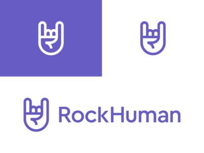 RockHuman / logo design action expression signal body language palm human emotion gesture marketing young modern performance saas management branding identity logo recruitment hand rock