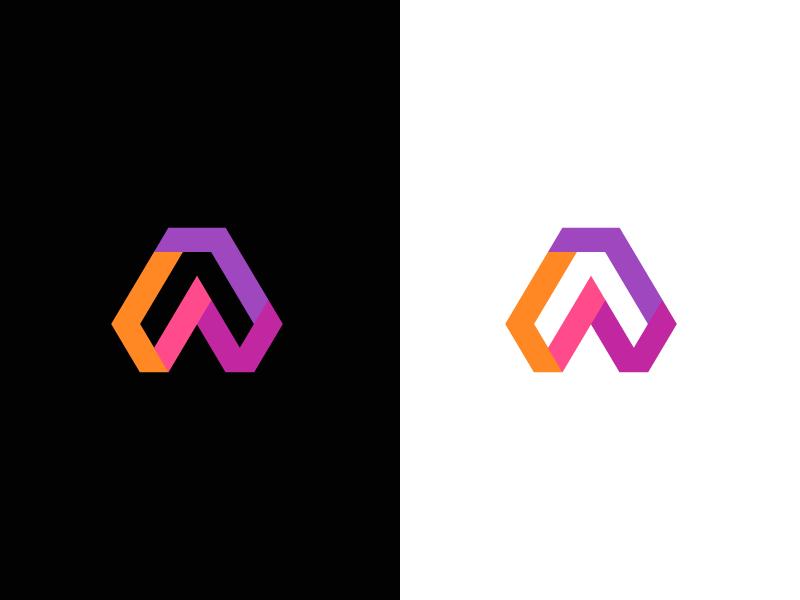 A / logo design color grow arrow modern technology tech lettermark logo icon abstract symbol a
