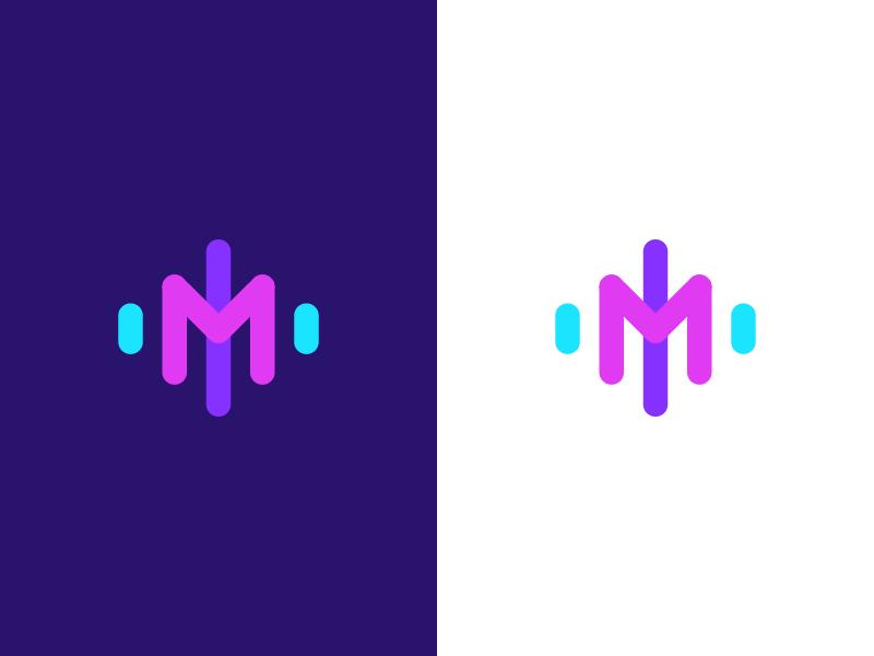 Music / logo design phonic modern logo sound system startup artificial inteligence lettermark m logo audio play soundrack ai listen sound wave music