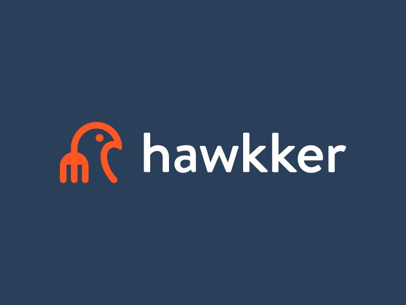 hawkker / food / logo design eagle logo monolinear monoline diet restaurant app delicious eat restaurant smart mark logo road street food mascot animal bird eagle hawk fork