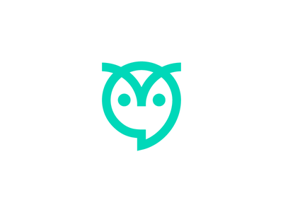 owl / chat bubble / logo design. lecture line conversation talk chat bubble bird education clever smart icon symbol mark logo chat owl