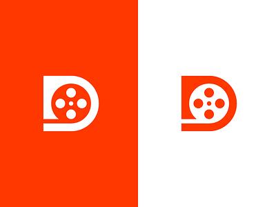 D / Film / logo design video app video art video background clever video lettermark logo smart negative space scene action rolling reel production film movie d